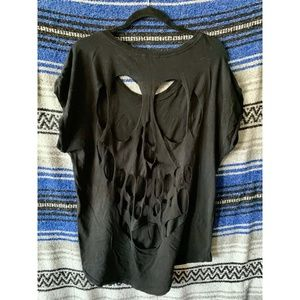 Urban Outfitters Black oversize t w/ skull cut out